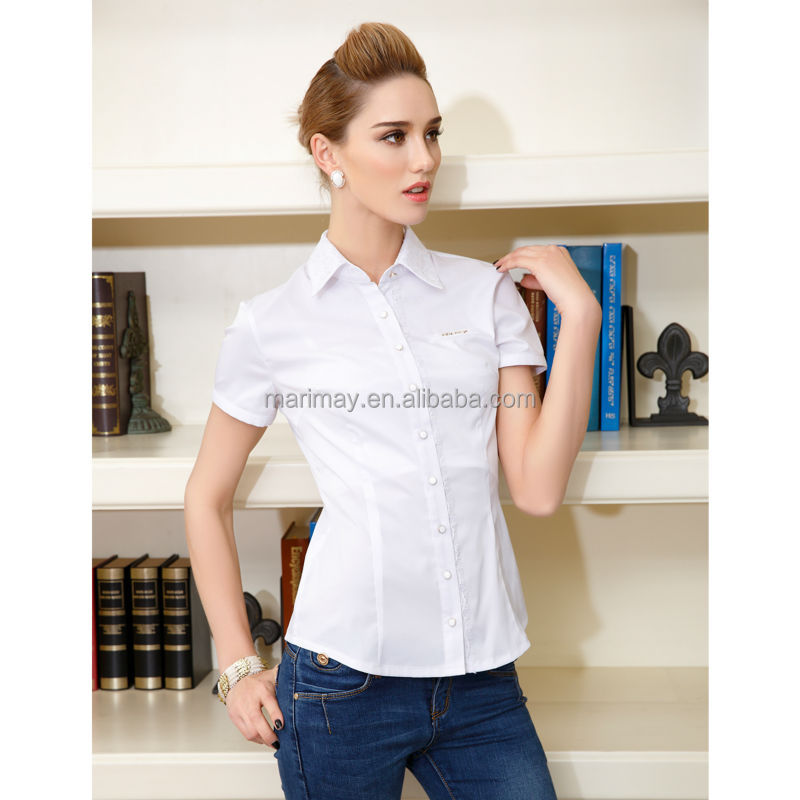 2015 summer tailoring blouse cutting lace collar office for Office uniform design 2015