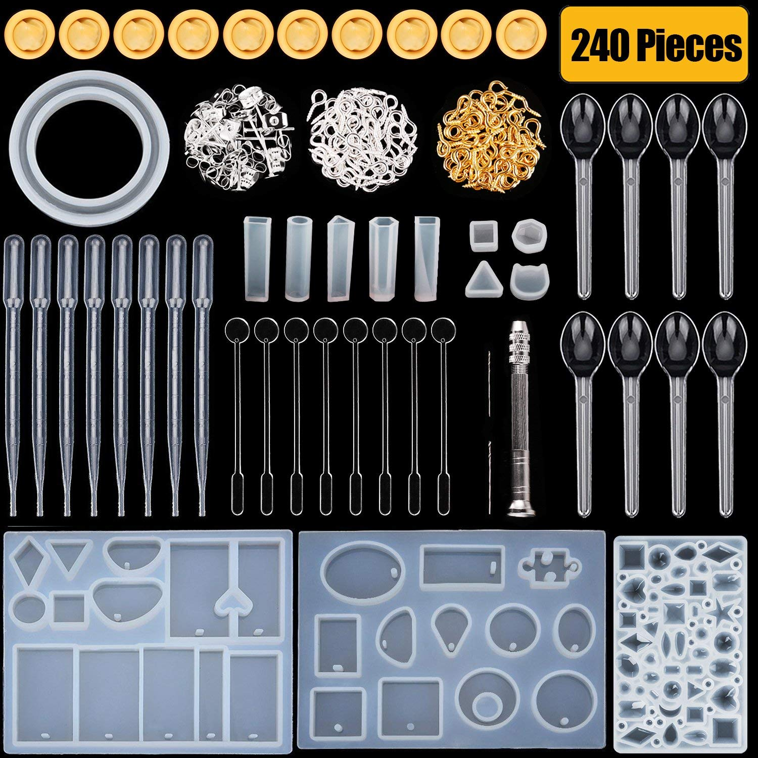 HTKstore Silicone Resin Molds Resin Casting Molds with Stirrers, Droppers, Spoons, Finger Cots,Hand Twist Drill and Screw Eye Pins, 240 Pieces Totally