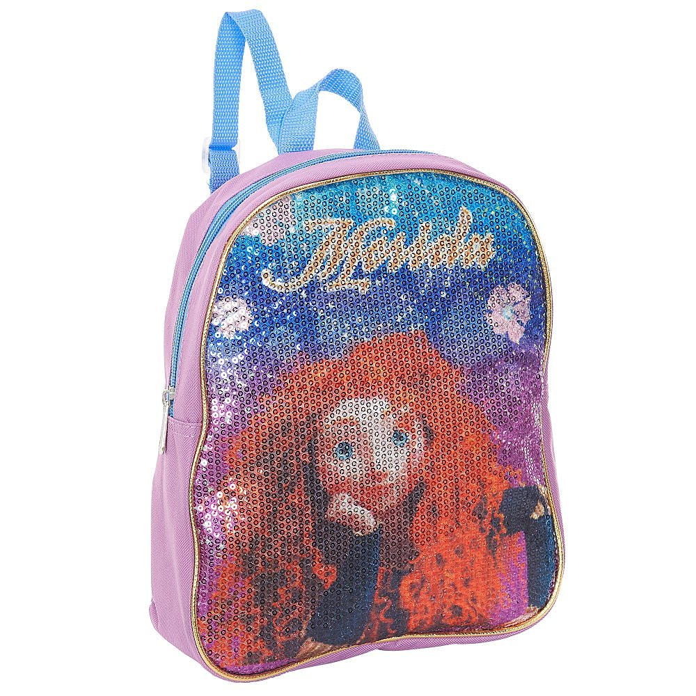 Disney Pixar Brave Sequin Merida 10 inch Sparkle & Shine Small Backpack Purple Color