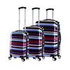 ABS PC railroad stripe trolley luggage, cross fringe printed polycarbonate travel suitcase, streak hard shell wheeled suit case