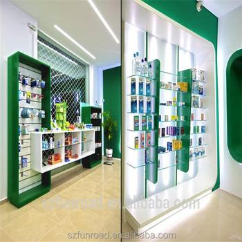 Pharmacy shelves and wood showcase designs for medical for Showcase shelf designs