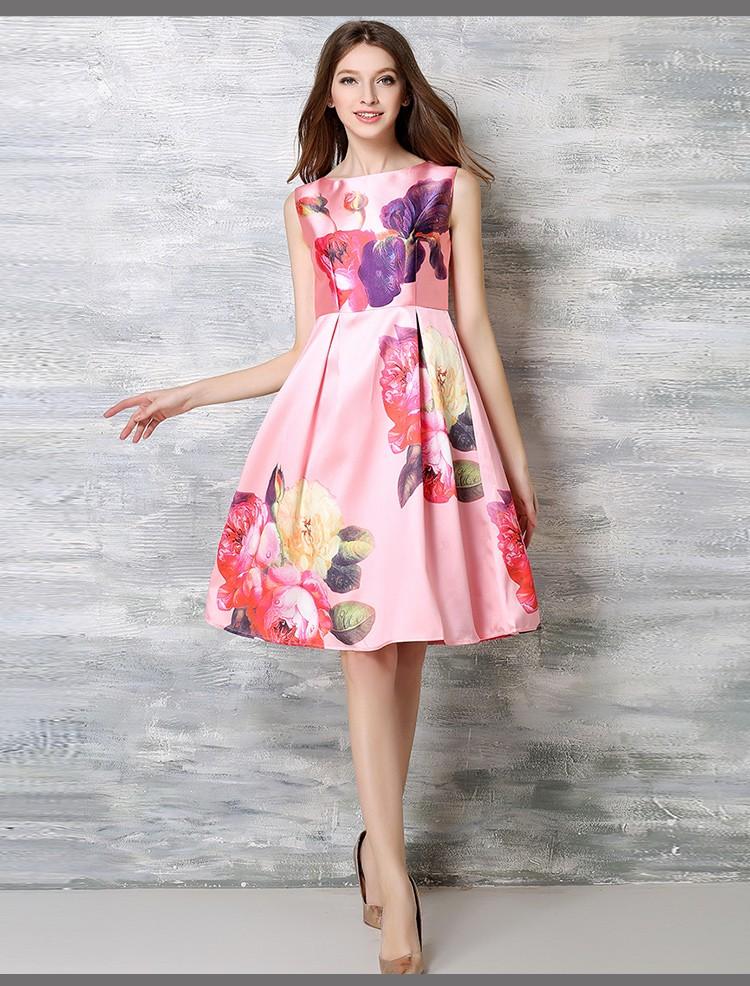 Nueva Moda Floral Impresión Midi Vestido Rosa Elegante Vestido ...