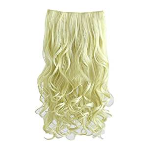 "Curly Wave Hairpieces - TOOGOO(R) 3/4 Full Head 28"" Gorgeous Long Blond Curly Wave Clips in on Synthetic Hair Extensions Hairpieces for Women 5 Clips 7 Oz per Piece (Color: Blond)"