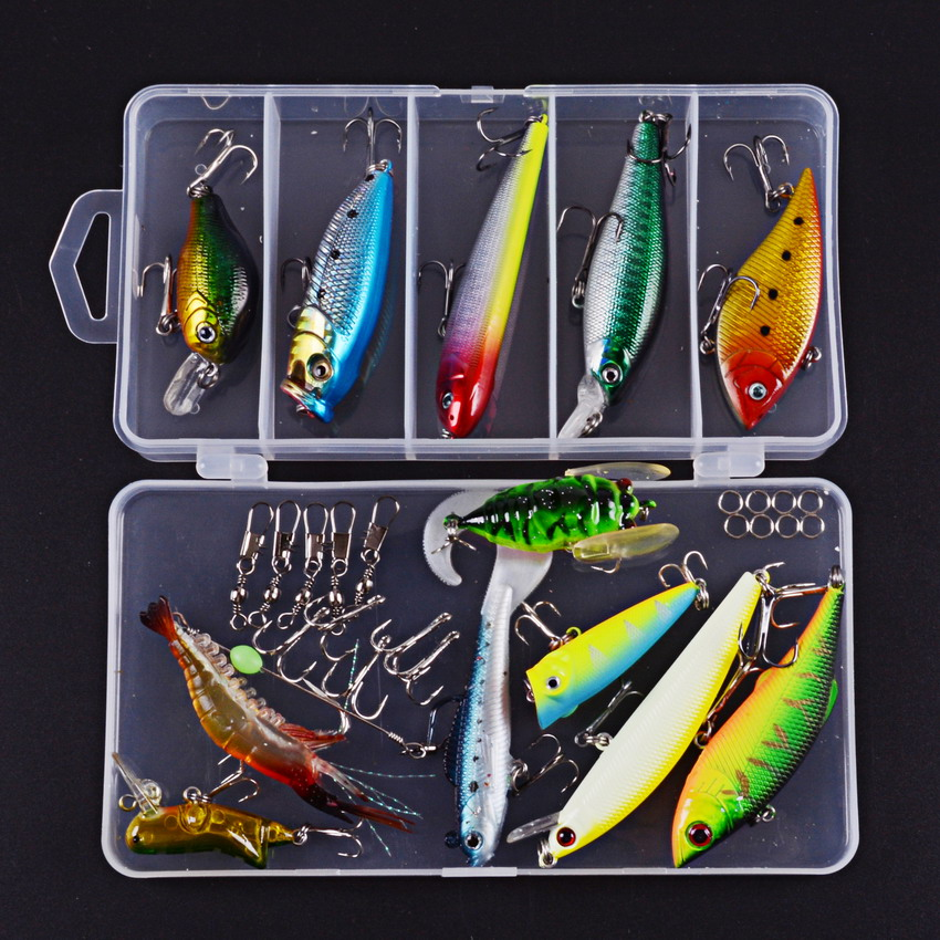 31pcs/set Soft Bait VIB Crankbaits Hooks Sequins Minnow Set Box Full Lure