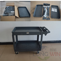 Flat platform 3 tray plastic service cart with storage handle