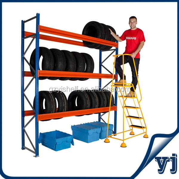 3-tire tire display rack on wheels/warehouse pallet racking/tire rack storage system