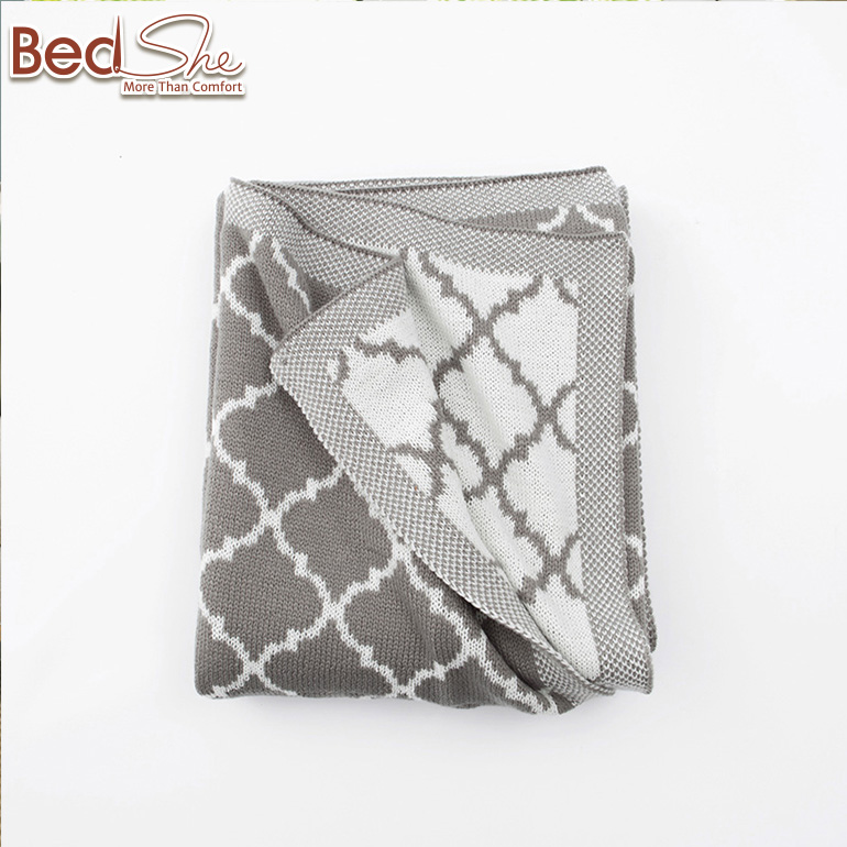 Bedsure European travel / sofa /gift grey polyester cozy knitted blanket