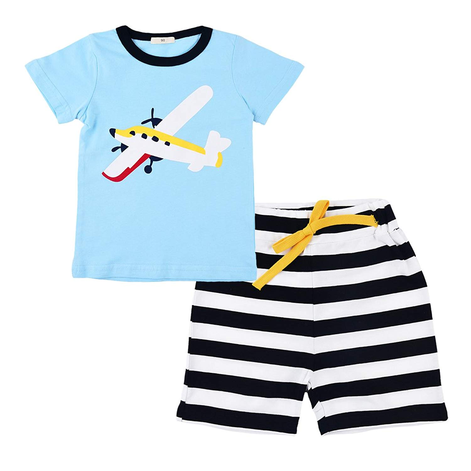 a0ea856968a Get Quotations · Popshion Kids Pajama Shorts Pajamas for Boys Toddler  Cotton Sleepwears Summer Clothes 2T-7T