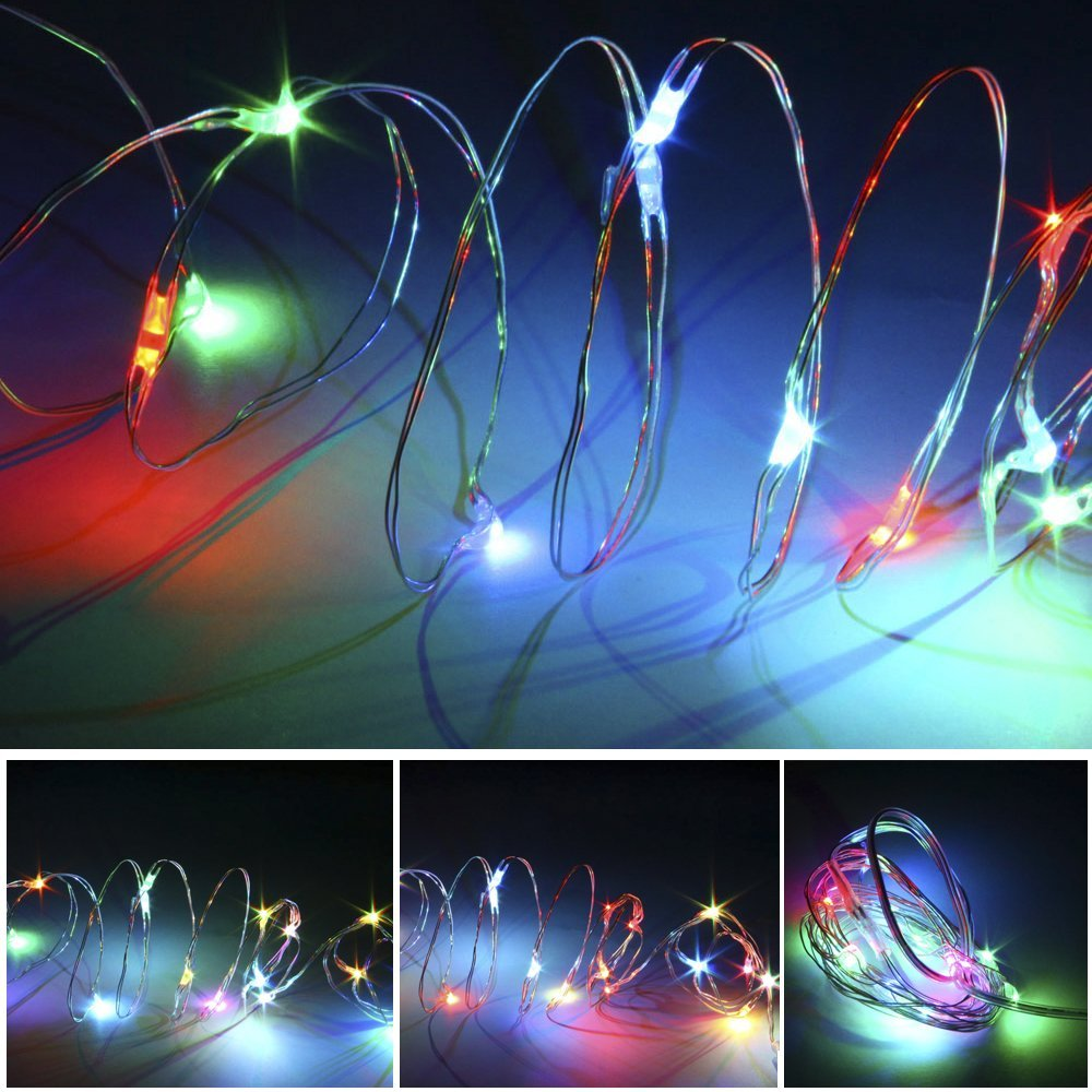 MarSwell® 2m 6.5ft 4.5V 1.2W 20 LED Silver Wire Battery Powered String Lights Strip Lights Fairy Lights For Christmas Party Festival Decorations Lights (RGB)