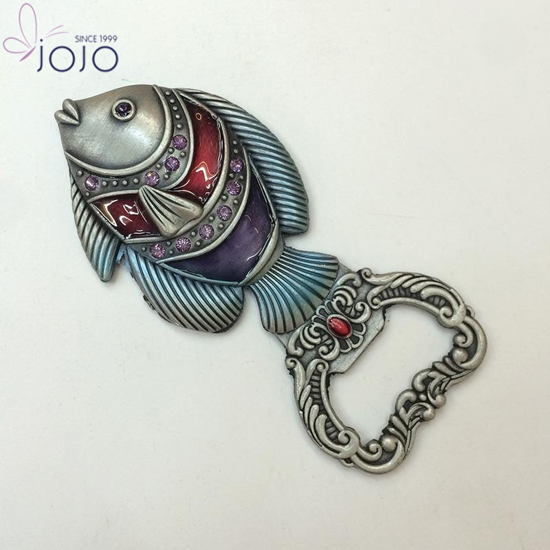 Best Seller Novelty Vintage Fish Crystal Styles Wine Metal Bottle Opener