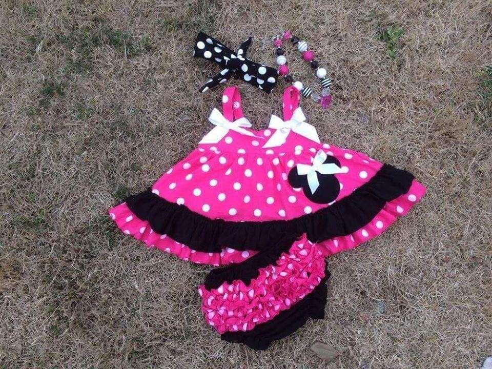 2015 hot pink & black baby girls swing top set swing Mincky Mouse outfits with matching necklace and headband set