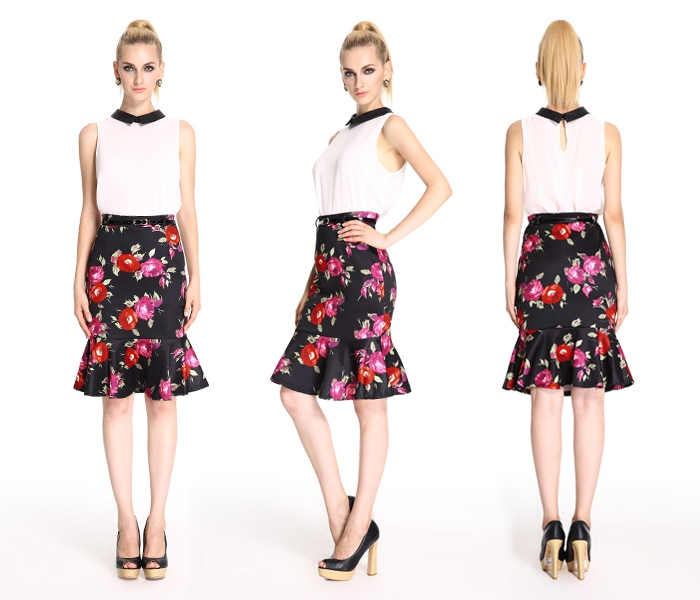 Exceptional Quality New Pattern Ladies Formal Skirt And Blouse ...