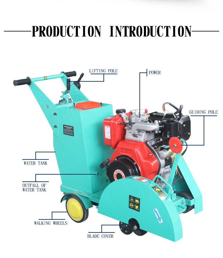 Cutter machine for pavement floor saw for cutting green concrete
