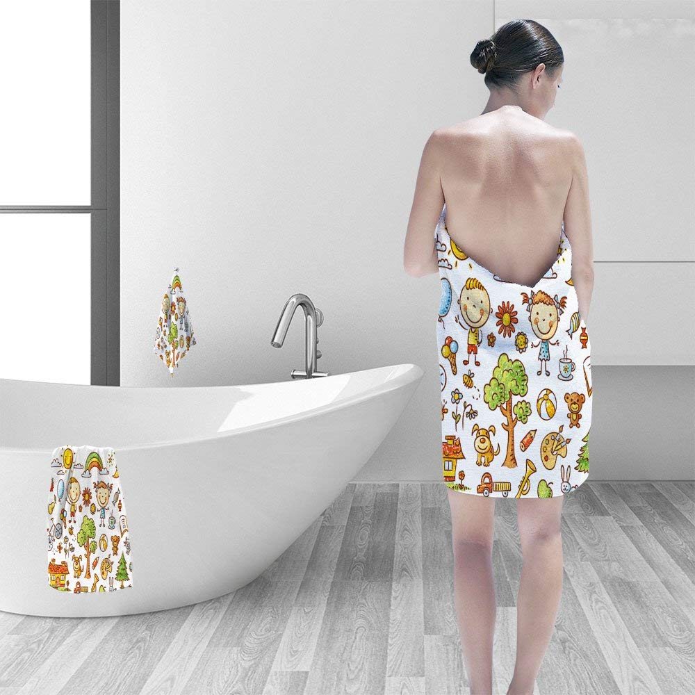 """Nalahomeqq Bath towel set Doodle of objects from child's life pets toys nature elements food etc 3D Digital Printing No Chemical OdorEco-Friendly Non Toxic13.8 x 13.8-11.8""""x27.6""""-27.6""""x55.2"""""""