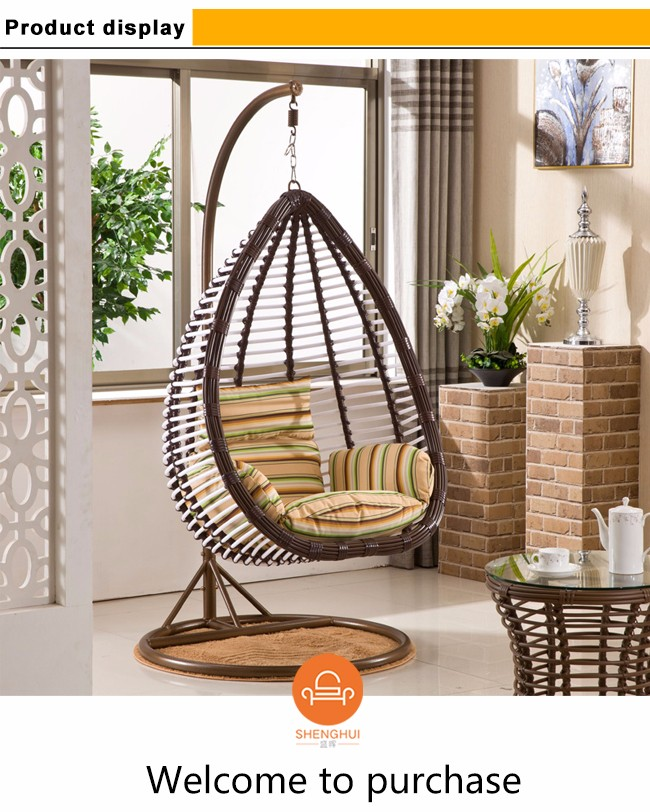 Cheap Price Indoor Outdoor Patio Round Rattan Wicker Hanging Egg Single Seat  Swing Chair