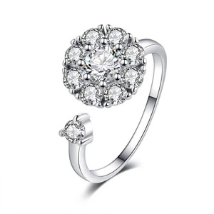 Diamond Adjustable 925 Silver Ring for Women Jewelry Gifts