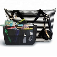 Wholesale Striped Mummy Diaper Bag With Baby Changing Pad