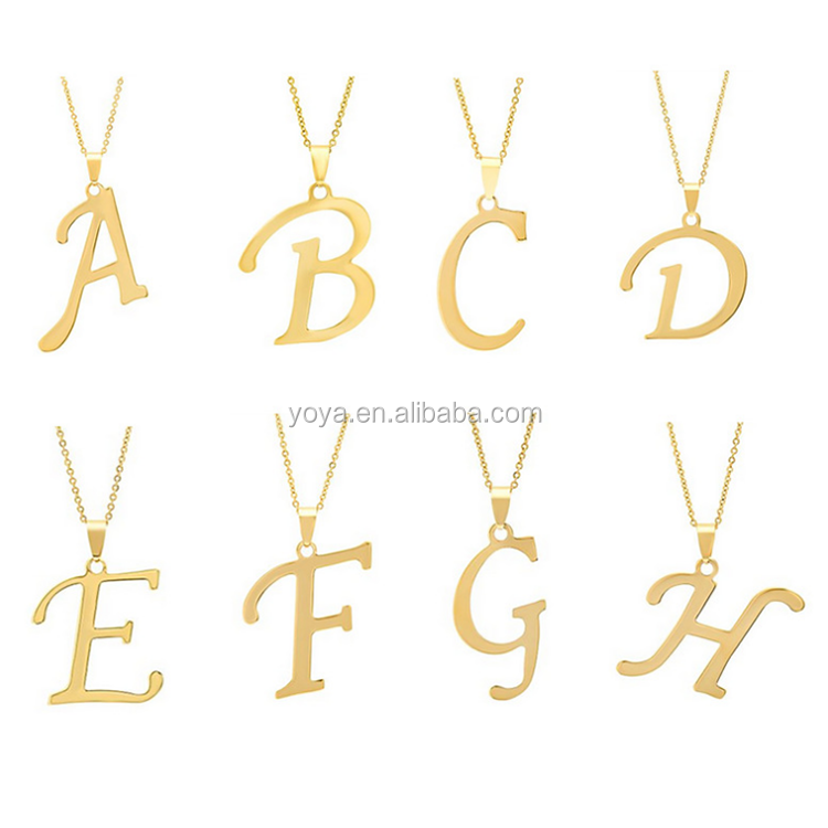 NS1001 fashion stainless steel 26 capital name letter pendant <strong>jewelry</strong>,gold initial personalized necklace