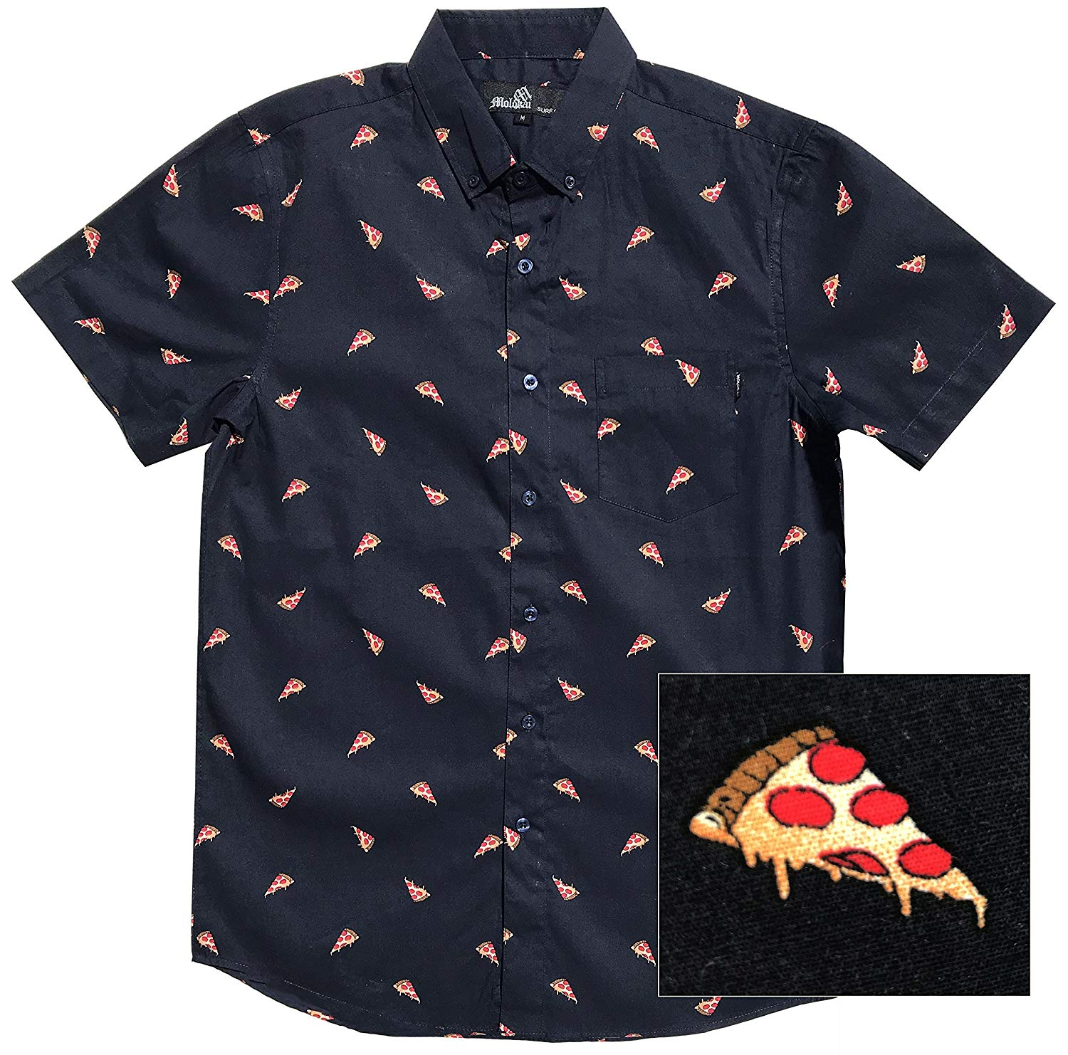 YUNY Mens Hipster Printed Casual Slim fit Short Sleeve Casual Polo Shirt Black M