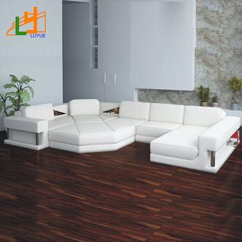 Hoekbank Leer Lounge.Moderne Luxe Woonkamer Sofa Cum Bed Lederen Lounge Hoekbank Set