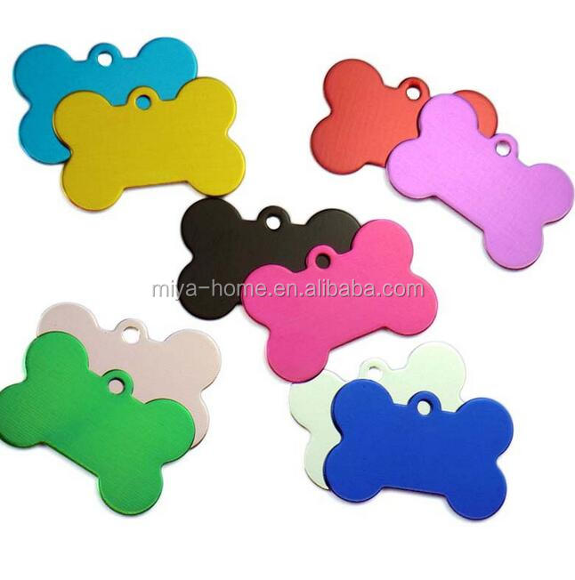 Hot selling Aluminum Anodized Pet ID Tags for Dog Collars / dog bone shape pet tags