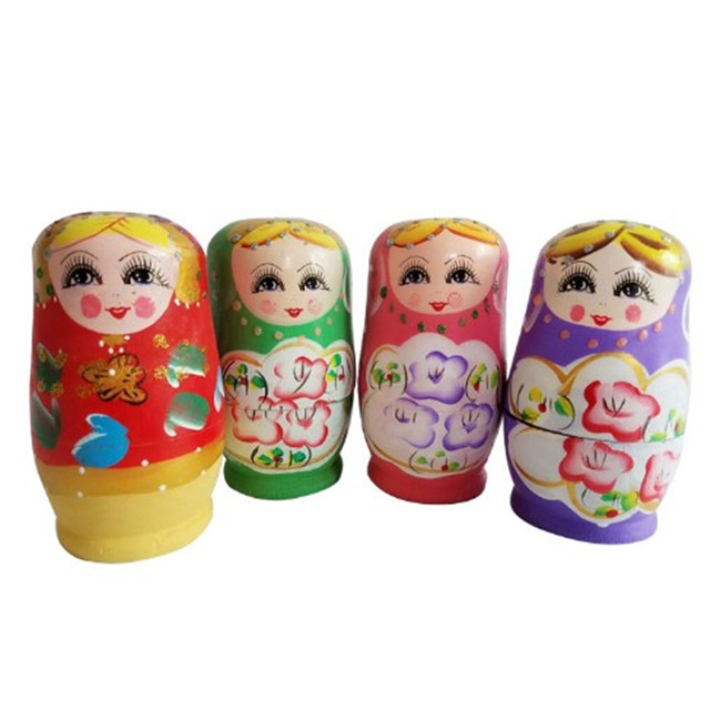 Amazon Hot Sale Natural Wooden Matryoshka Toy Wooden Russian Nesting Doll With Eco-Friendly