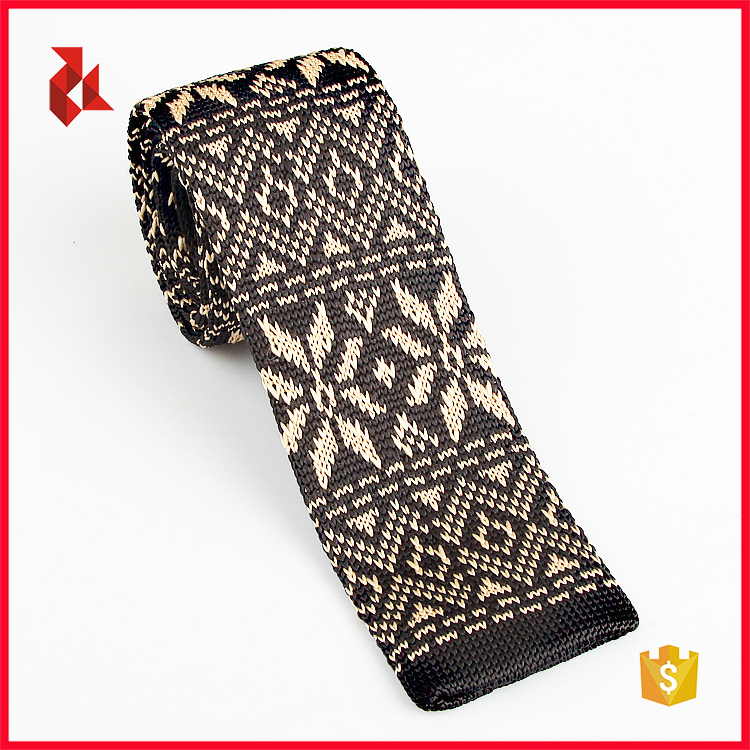 Polyester Snow Design Knitted Neck Tie For Christmas