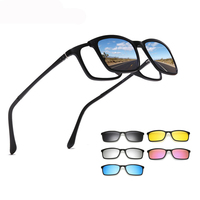 2019 Magnet clip on 5 in 1 quick change lens TR90 plastic eyewear frame sun glasses, private label brand your own sunglasses