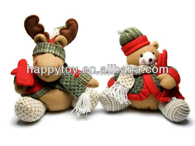 HI brown teddy bear dolls, plush teddy bear with christmas decoration wholesale bear toys