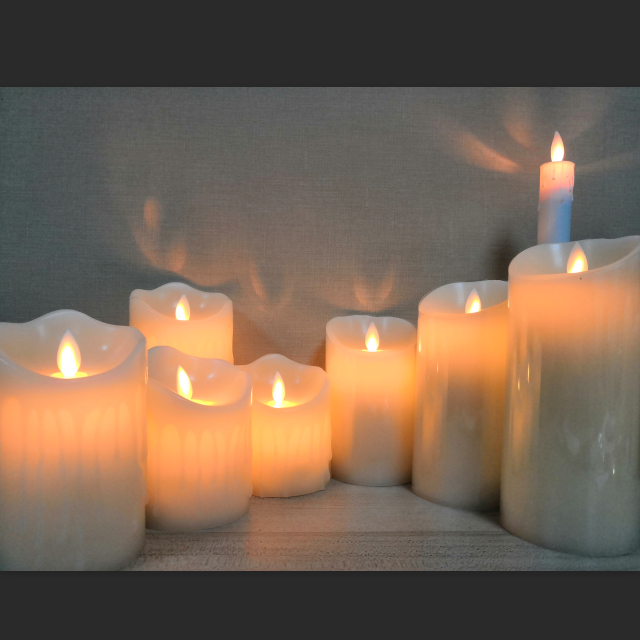battery operated flameless candle moving wick led candles with10-key remote control