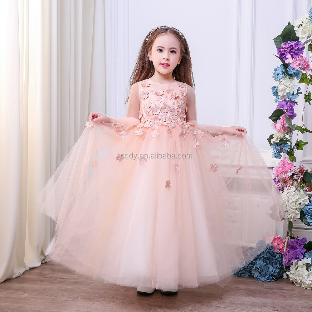 c9793d70d2d63 Baby Peach Pageant Dresses For Girls Glitz Flower Girl Dresses Long Sleeves  Ball Gowns Girls Communion Party Dress - Buy Full-length Ball Gown Flower  ...