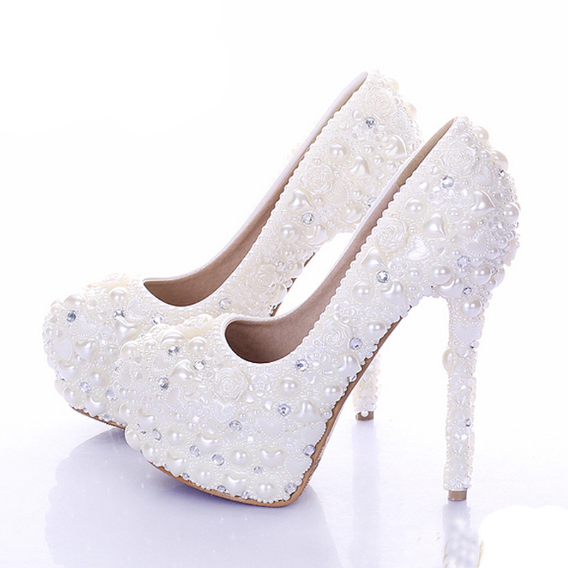 2015 New Diamond Wedding Shoes Ivory Color Pearl Bridal Dress Shoes Beautiful Crystal High Heel Party Prom Shoes Platforms