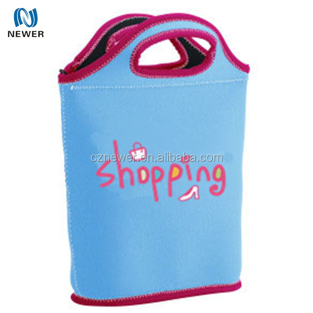 Super convenient zipped heat retaining neoprene travel lunch tote handbag
