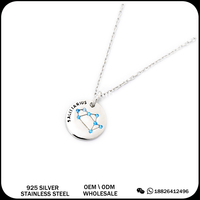 2016 fashion jewelry 925 silver necklace 12 zodiac signs pendant chain for women