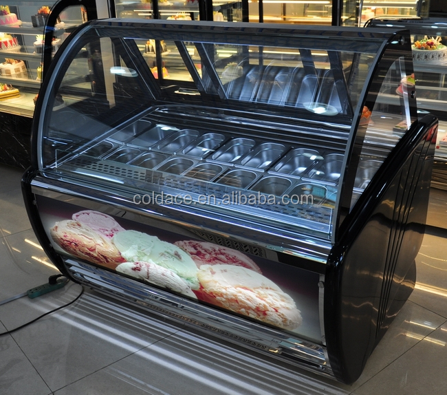 Gelato Display Case With Asprea Compressor curved glass top freezer