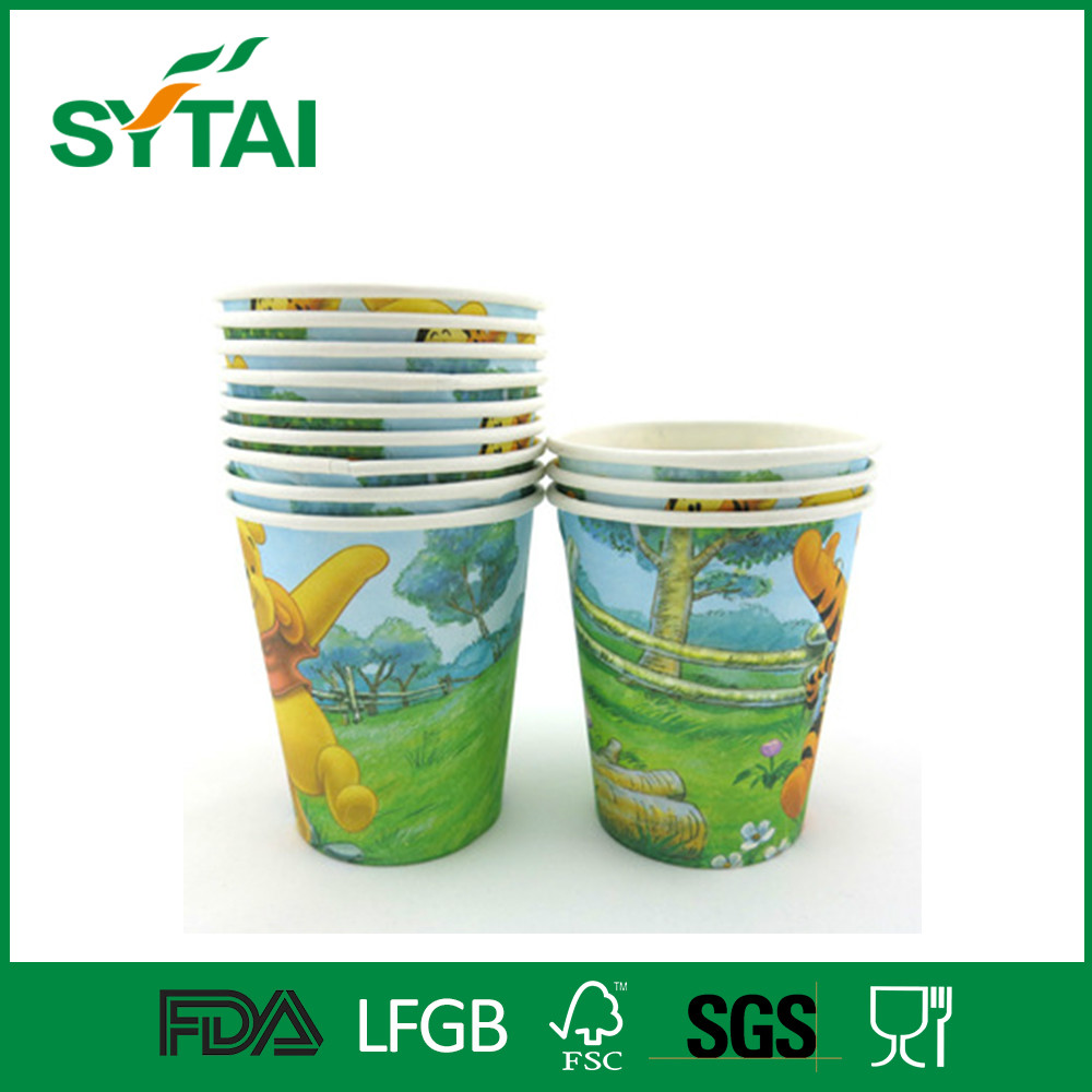 7.5 Oz disposable beautiful design cartoon characters colorful pe coated party paper cup for wholesale