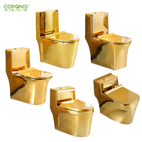 Chaozhou manufacturer sanitary ware one piece gold plated toilet luxury toilet