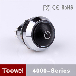 Toowei 12mm illuminated round push button switches with power symbol