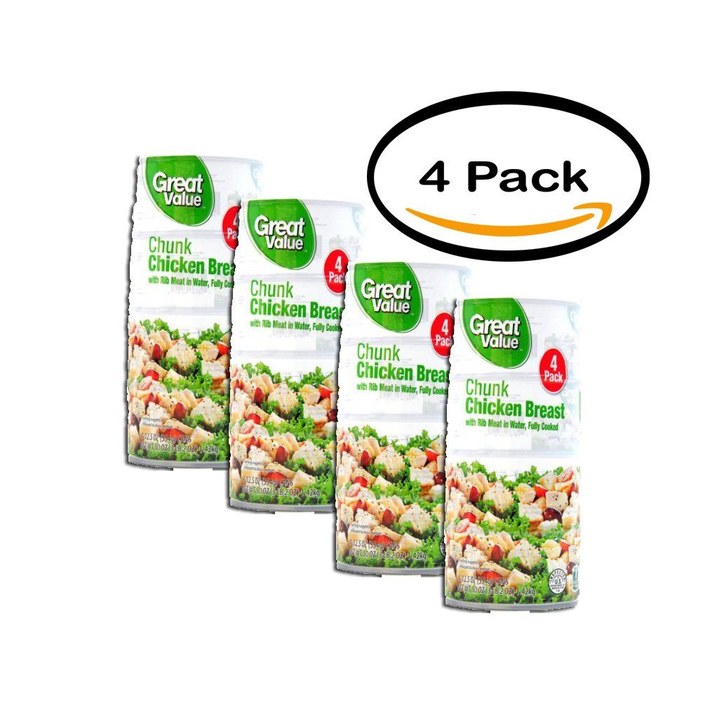 PACK OF 4 - Great Value Fully Cooked Chunk Chicken Breast with Rib Meat in Water, 12.5 oz, 4 Count