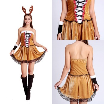 840c3a020259 Hot Sale Christmas Party Dress Women Gift Sexy Skirt Christmas Hat Ladies  Dress Santa Claus Costumes