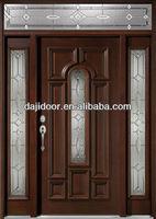 Black Walnut Exterior Solid Wooden Doors Design With Side Panel Transom DJ-S9602MSTHS-1
