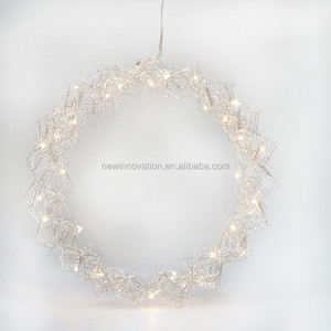 36L Warm White LED Wire Wreath Frame Home Art Decoration