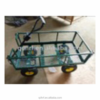 50a26bc65a LARGE METAL 4 WHEEL GARDEN CART TROLLEY WITH DROP DOWN SIDES and PNEUMATIC  TYRES TC1840