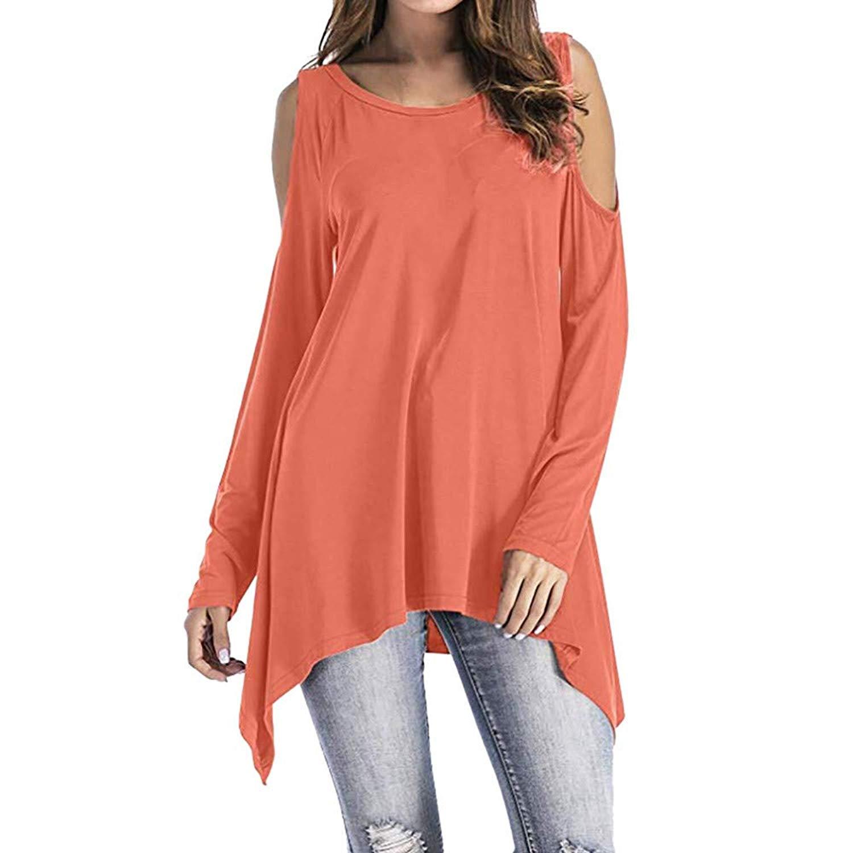 POTO Shirts for Women,Fashion Cold Shoulder Swing Asymmetrical Tunic Tops T Shirts Sweatshirt Long Sleeve Blouse Jumper