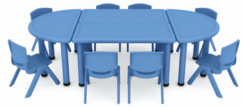 Water Proof And Eco Friendly Plastic Used Daycare Furniture/half Round Table