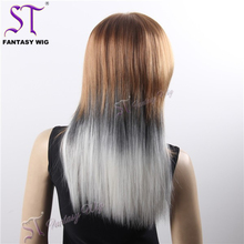 Wholesale Wig Distributors Long Straight Grey Gradient White Wig Synthetic Hair Weave