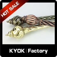 KYOK Twisted window decorated hardware ,delicate double drapery rod set,curtain rod pole finials