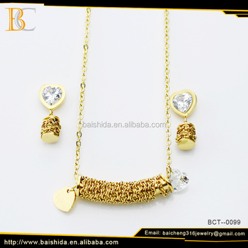 Dubai 18K Gold Plated Stainless Steel Necklace and Earrings Jewlery Set, Wedding Pendant Jewelry Set
