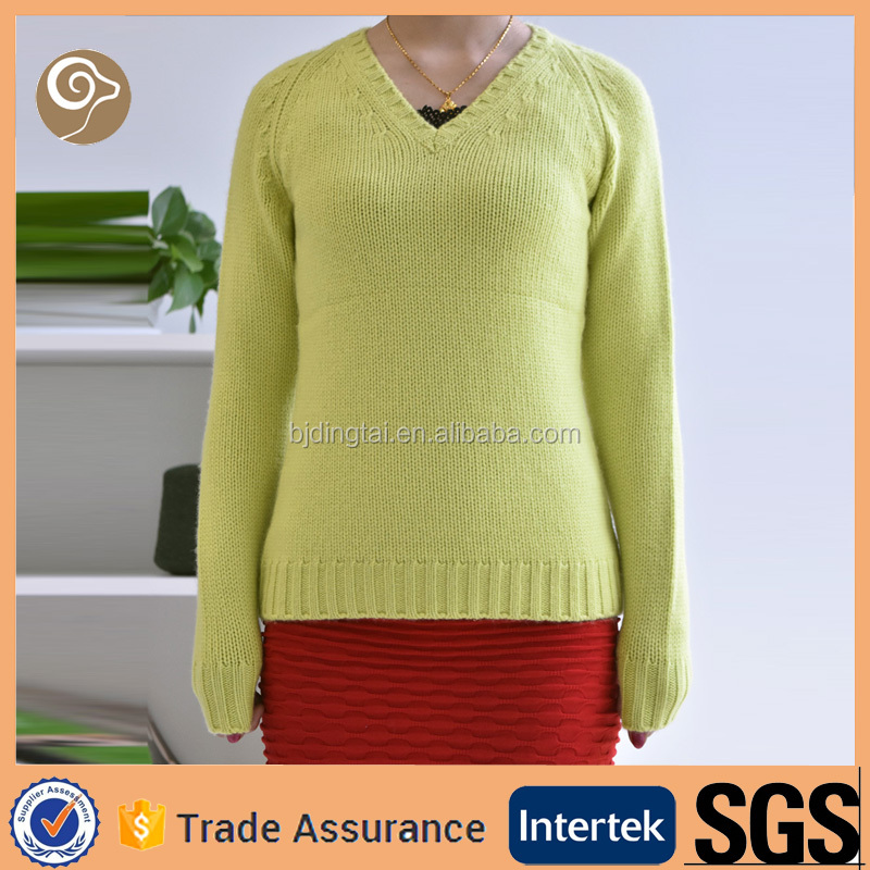 V neck women knitted 3G cashmere sweater price