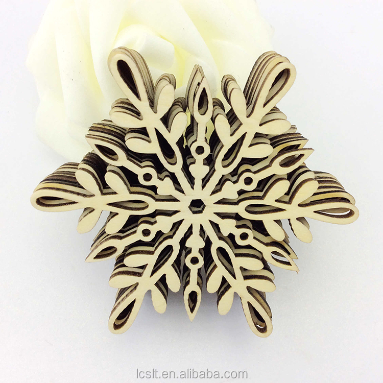 laser cut wood hollow snowflake christmas hanging ornament